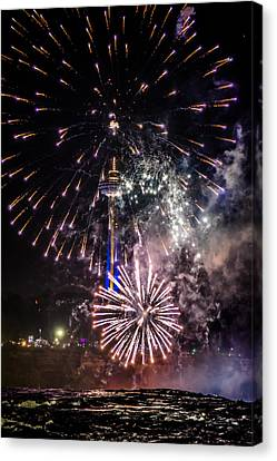 Fireworks At Niagara Falls Read Description Canvas Print by Carlos Ruiz