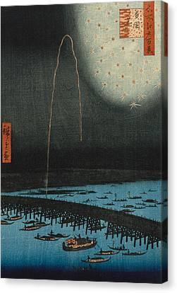 Fireworks At Ryogoku Canvas Print by Hiroshige