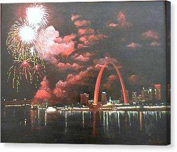 Fireworks At The Arch Canvas Print by Marti Idlet