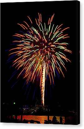 Canvas Print featuring the photograph Fireworks by Bill Barber