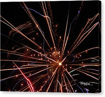 Canvas Print featuring the photograph Fireworks Blast #0703 by Barbara Tristan