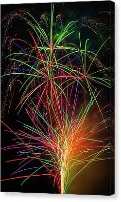 Fireworks Bursting In Sky Canvas Print