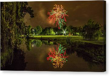 Fireworks During Fair St Louis In Forest Park Canvas Print by Garry McMichael