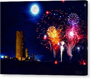 Fireworks In The Moonlight Canvas Print by Theresa Campbell