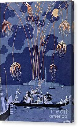 Fireworks In Venice Canvas Print by Georges Barbier