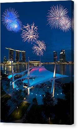 Canvas Print featuring the photograph Fireworks by Ng Hock How