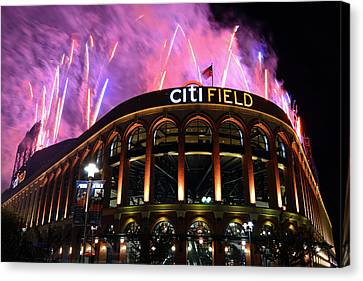 Fireworks Night At Citifield Canvas Print by James Kirkikis
