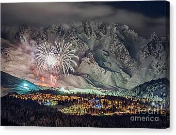 Fireworks On Snow Canvas Print