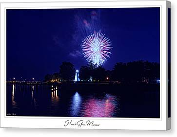 Fireworks Over Concord Point Lighthouse Havre De Grace Maryland Prints For Sale Canvas Print by Michael Grubb