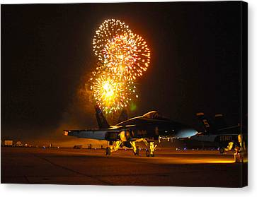 Fireworks Over Fa-18 Hornet Us Navy Canvas Print by Celestial Images