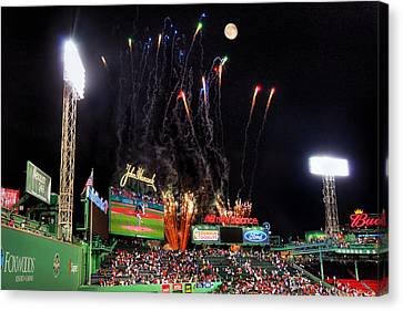 Fireworks Over Fenway Park - Boston Canvas Print by Joann Vitali
