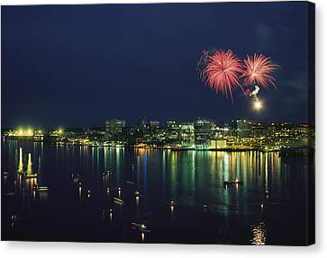 Fireworks Over Halifax Harbor Celebrate Canvas Print by James P. Blair