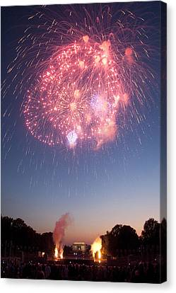 Fireworks Over Lincoln Canvas Print by Colleen Joy