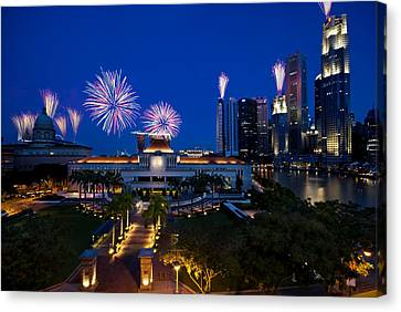 Canvas Print featuring the photograph Fireworks Over Parliament by Ng Hock How