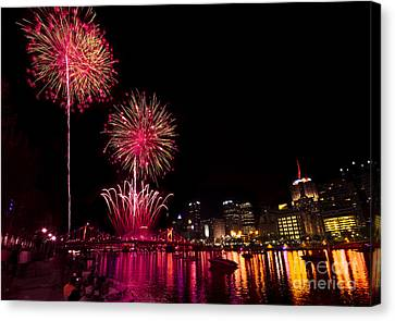 Fireworks Over Pittsburgh Pennsylvania Canvas Print by Amy Cicconi