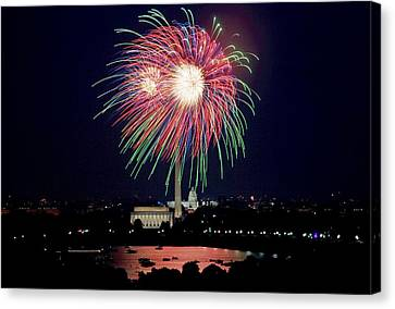 American Independance Canvas Print - Fireworks Over The Pentagon by FL collection