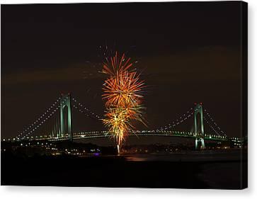 Fireworks Over The Verrazano Narrows Bridge Canvas Print