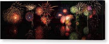 Fireworks Reflection In Water Panorama Canvas Print