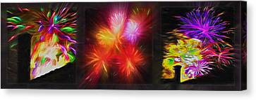 Rooftop Canvas Print - Fireworks Triptych 2 by Steve Ohlsen