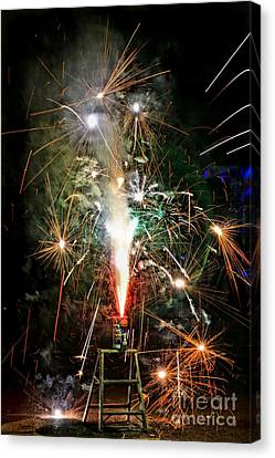 Canvas Print featuring the photograph Fireworks by Vivian Krug Cotton