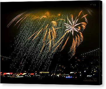 Pyrotechnic Canvas Print - Fireworks Waterfall Over San Francisco Bay by Brian Tada