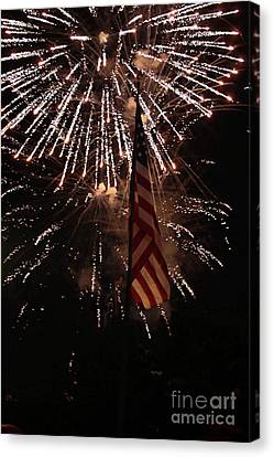 Fireworks With Flag Canvas Print by Alan Look
