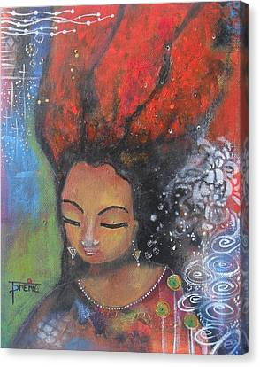 Canvas Print featuring the painting Firey Hair Girl by Prerna Poojara