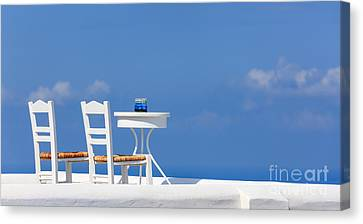 Empty Chairs Canvas Print - Firostefani, Santorini, Greece by Henk Meijer Photography