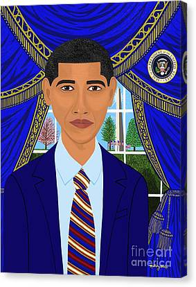 Michelle Obama Canvas Print - First Afro American President Barack Obama   by Mallory Blake