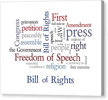 First Amendment - Bill Of Rights Canvas Print by Antique Images