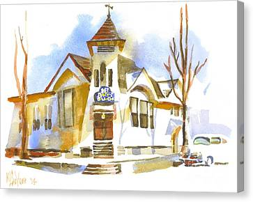 Canvas Print featuring the painting First Baptist Church In Winter by Kip DeVore