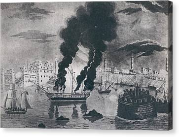 First Barbary War 1801-1805. Burning Canvas Print by Everett