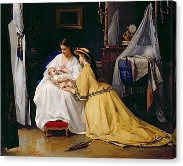 First Born Canvas Print by Gustave Leonard de Jonghe