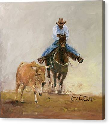 First Bulldogger Bill Picket Oil Painting By Kmcelwaine  Canvas Print by Kathleen McElwaine
