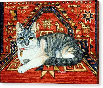 First Carpet Cat Patch Canvas Print by Ditz