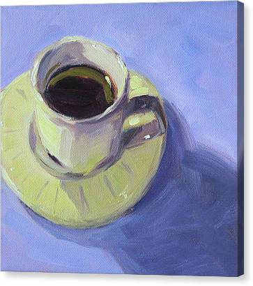 Canvas Print featuring the painting First Cup by Nancy Merkle