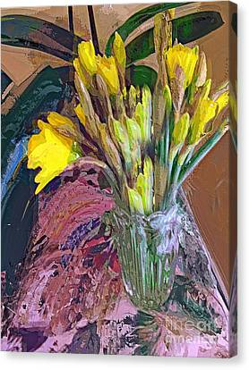Canvas Print featuring the digital art First Daffodils by Alexis Rotella