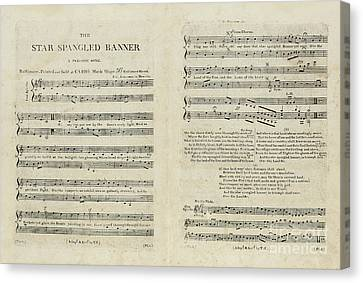 First Edition Of The Sheet Music For The American National Anthem Canvas Print