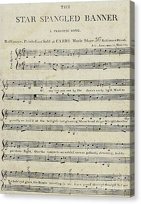 First Edition Of The Sheet Music For The Star Spangled Banner Canvas Print