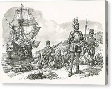 First Europeans Arriving In California  Canvas Print
