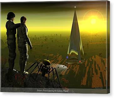First Evening On Colony Planet Canvas Print by Jim Coe