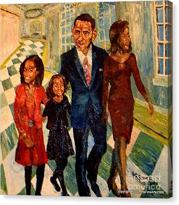 First Family Obama's Canvas Print by Keith OBrien Simms