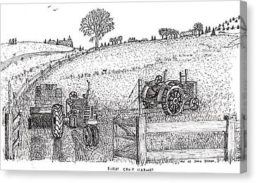 Canvas Print featuring the drawing First Hay Crop by Jack G  Brauer