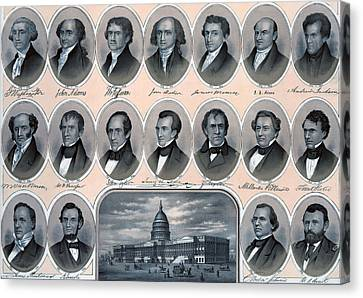 First Hundred Years Of American Presidents Canvas Print by American School
