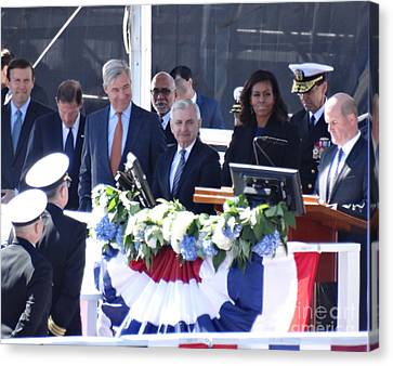First Lady Michelle Obama At The Christening Of The Illinois Ssn 786 Canvas Print by Gina Sullivan