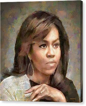 Michelle Obama Canvas Print - First Lady Michelle Obama by Wayne Pascall