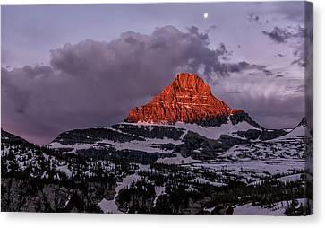 Waning Moon Canvas Print - First Light At Logan Pass - Glacier National Park by Loree Johnson