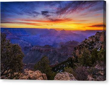 First Light In The Canyon Canvas Print