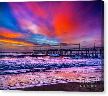 Canvas Print featuring the photograph First Light On The Beach by Nick Zelinsky