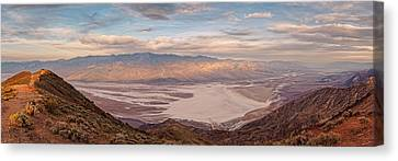 Panamint Valley Canvas Print - First Light On The Panamint Mountains From Dante's View - Death Valley National Park California by Silvio Ligutti